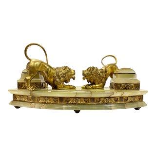 19th Century Tiffany Studios Gilt Bronze & Onyx Inkwell For Sale