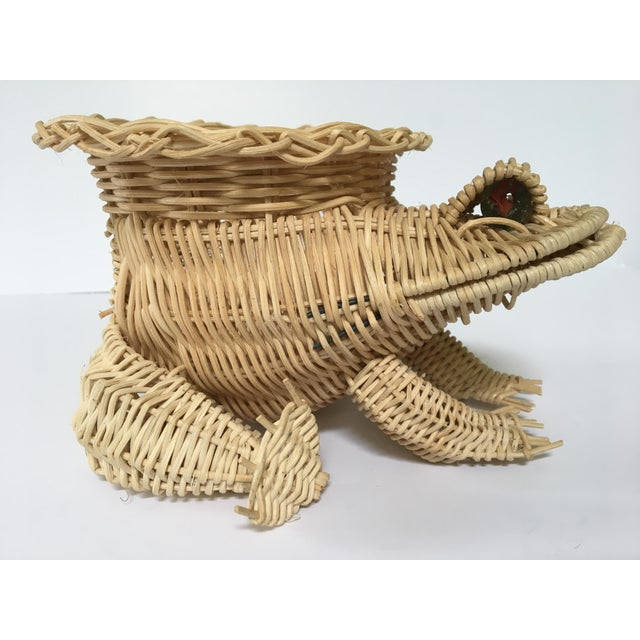 This is a super cute mid-century wicker frog planter/catchall. The frog is in excellent clean condition with all of his...