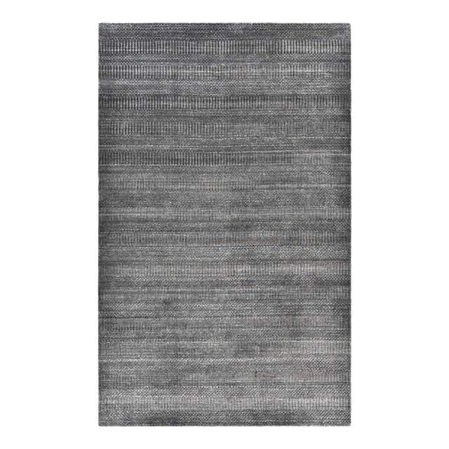 Sanam, Contemporary Solid Hand Loomed Area Rug, Dark Gray, 5 X 8 For Sale