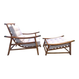 Vogue Rattan Mid-Century Modern Rattan Lounge Chair and Ottoman