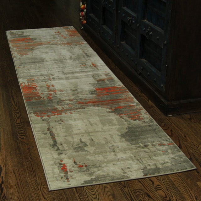 Contemporary Abstract Orange Rug - 2'8'' x 10' - Image 2 of 5