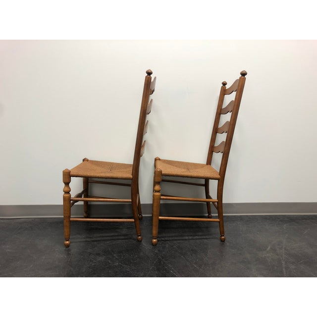 Ethan Allen Ladder Back Rush Seat Dining Side Chairs - Pair 1 For Sale In Charlotte - Image 6 of 10