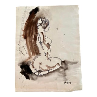 Hendrik Grise Seated Nude Woman Signed Original Watercolor For Sale