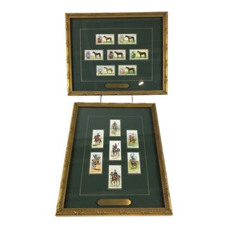 Early 20th Century Framed Racehorses and Riders Cigarette Cards - A Pair For Sale