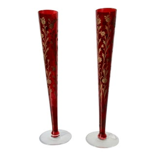 Engraved Ruby Red Bud Vases - a Pair For Sale