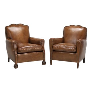 Restored French Art Deco Leather Club Chairs - A Pair For Sale