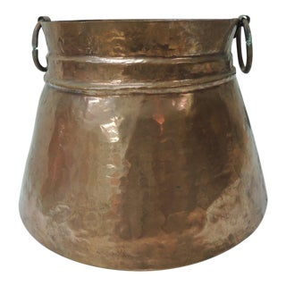 Vintage Round Moroccan Polished Copper Decorative Planter With Handles For Sale