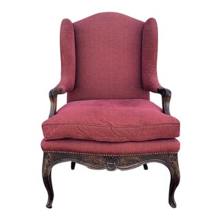Belmar Upholstered Wingback Chair With Down Cushion and Carved Wooden Frame For Sale