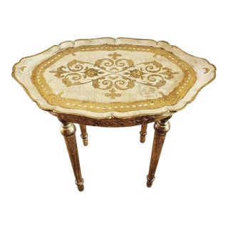 Vintage Florentine Hand Carved & Painted Giltwood Tray Table For Sale
