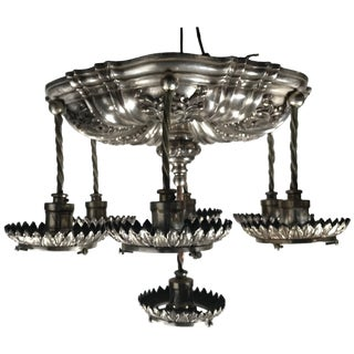 Silver Plated Neoclassic Style Caldwell Pendant Chandelier Circa 1920s For Sale
