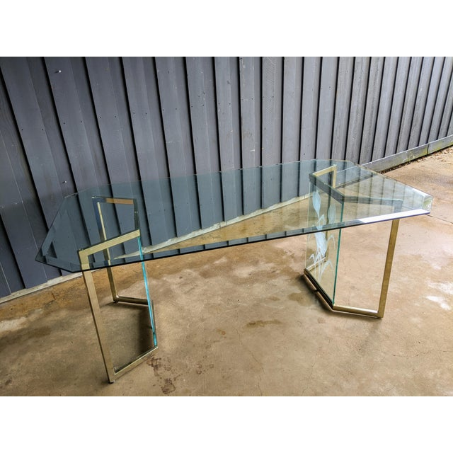 Metal 1970s Boho Chic Glass Desk or Dining Table For Sale - Image 7 of 13