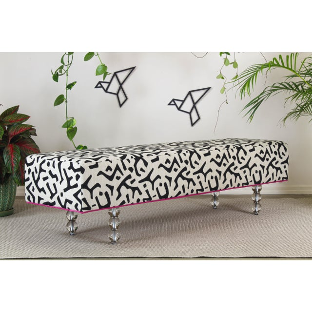 Black & White Ottoman on Glass Legs, Black & White Bench For Sale In Miami - Image 6 of 10