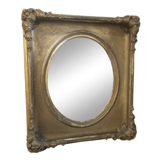 Antique Gilt Oval Mirror For Sale