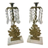 Image of Vintage Brass Flower Basket Girandoles Candle Holders - a Pair For Sale