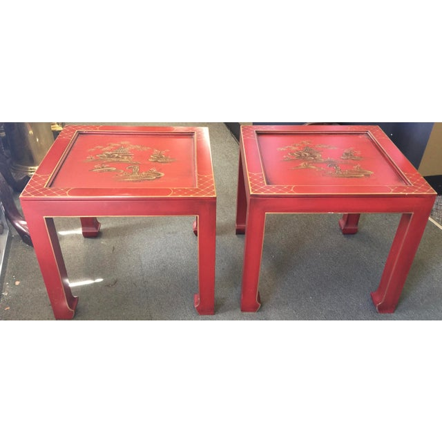 Hand Painted Chinoiserie Tables Signed Retha For Sale - Image 9 of 9