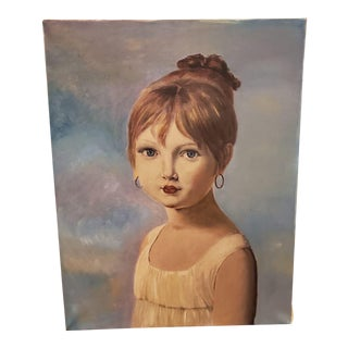 Vintage Portrait of the Daughter Painting Attributed to French Artist Geurin For Sale
