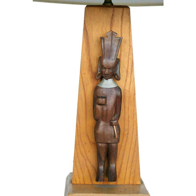 Mid-Century Table Lamp With African Carving Pair For Sale - Image 4 of 8