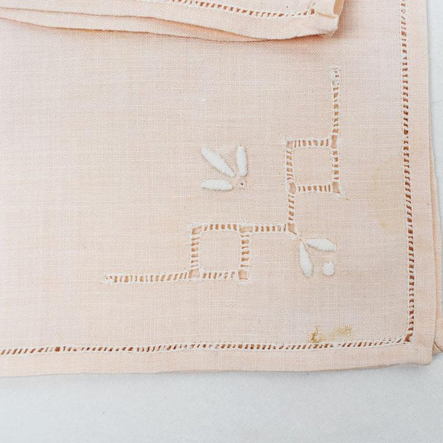 French French Hem Stitched Ballet Pink Embroidered Cloth Napkins - Set of 4 For Sale - Image 3 of 6