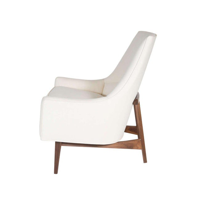 Mid-Century Modern Customizable Cedrick Walnut Base Lounge Chair For Sale - Image 3 of 5