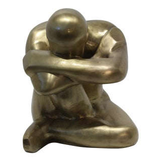 Thinking ManPolished Bronze Sculpture For Sale