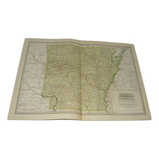 1906 Antique Dictionary and Cyclopedia Arkansas Map For Sale
