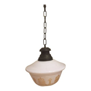 Vintage Stenciled Schoolhouse Shade With Brass Fixture For Sale
