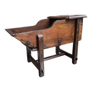 19th Century French Carved Oak Wine Cradle End Table For Sale