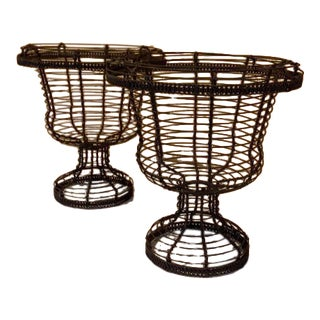 French Metal Wire Jardiniere - a Pair For Sale