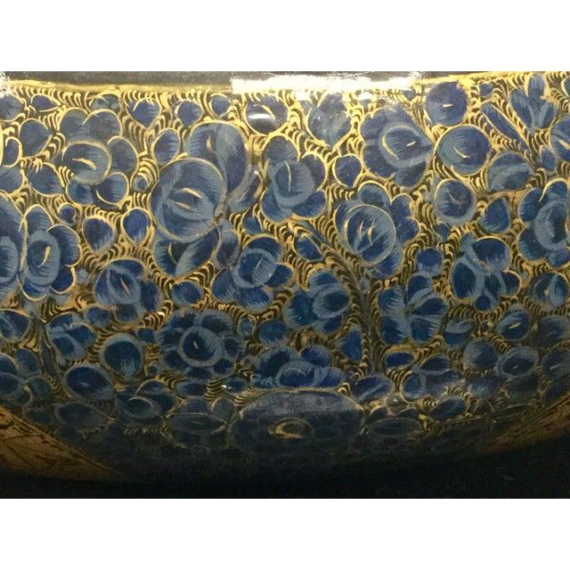 Antique Indian Kashmir Lacquer Paper Mache Bowl For Sale - Image 4 of 12