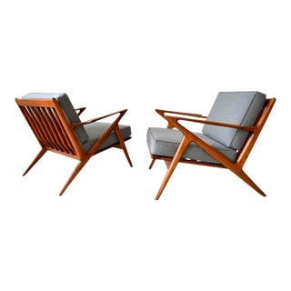 1960s Scandinavian Modern Poul Jensen for Selig 'Z' Chairs - a Pair