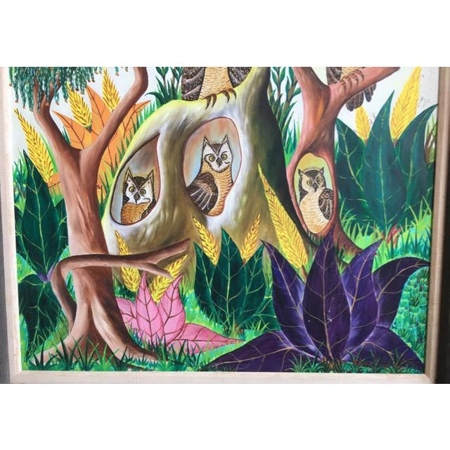 Mid 20th Century Haitian Folk Art Painter Owls Painting by Adam Leontus For Sale - Image 5 of 11