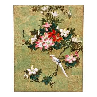Vintage Bird & Flowers on Cork Paper For Sale