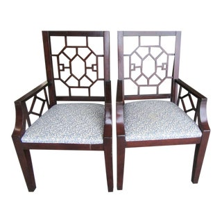 Fretwork Arm Chairs- a Pair For Sale