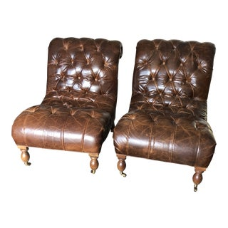 Mitchell Gold + Bob Williams Tufted Lounge Chairs - a Pair For Sale
