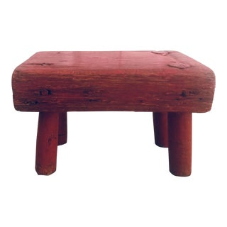 Primitive Hand Made Wood Red Footstool For Sale