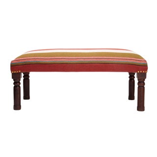 Transitional Handloom Handcrafted Bench For Sale