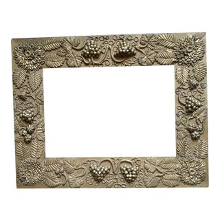 19th Century Folk Art Frame with Grapes and Chrysanthemums For Sale