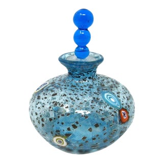 Hand Blown Blue Glass Perfume Bottle With Ball Dauber and Silver Foil For Sale