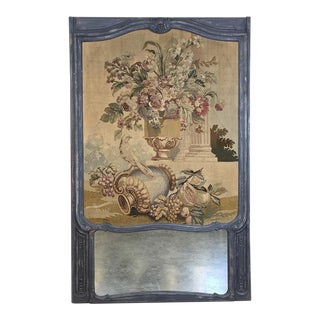 19th Century Grand French Trumeau Mirror With French Aubusson Tapestry For Sale