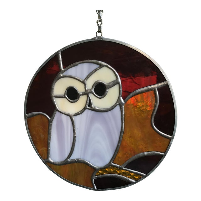 Hanging Stained Glass Owl For Sale
