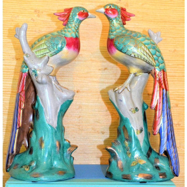 Asian Chinese Export Porcelain Pheonix Bird Figurines - a Pair For Sale - Image 3 of 13