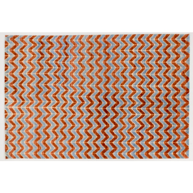 Solo Rugs Grit and Ground Collection Contemporary Pogo Orange Hand-Knotted Area Rug, Blue, 6' X 9' For Sale - Image 4 of 4