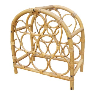 Vintage Bamboo Wrapped Rattan Circular Wine Rack For Sale