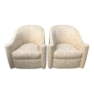 Vintage Art Deco Barrel Club Chairs W Fortuny & Jay Robert Scott Fabric - a Pair For Sale