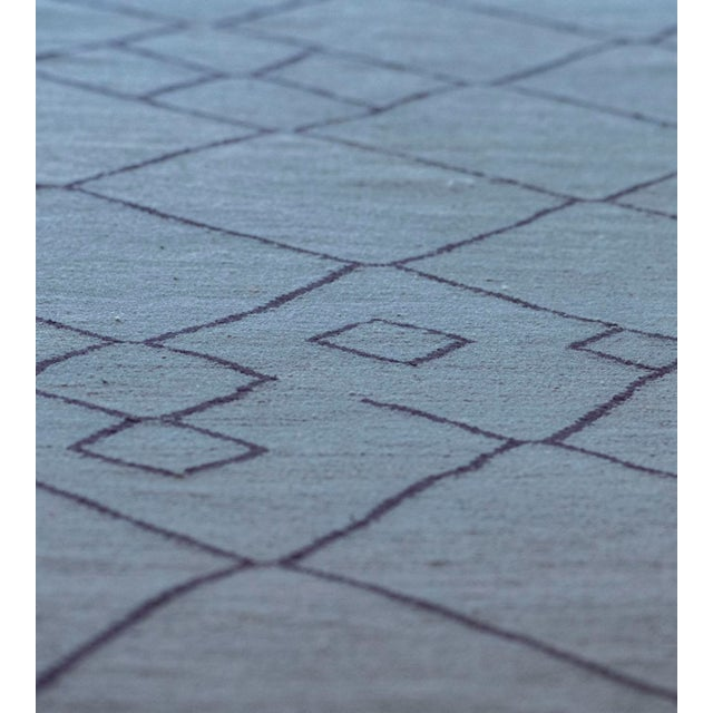 MANSOUR Contemporary Blue Handwoven Wool Moroccan Inspired Flatweave Rug For Sale - Image 4 of 10