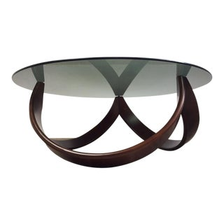 1960s Mid Century Modern Walnut and Smoked Glass Coffee Table For Sale