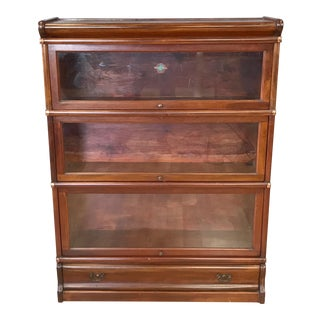 Globe-Wernicke Mahogany Three-Stack Barrister's Bookcase With Drawer