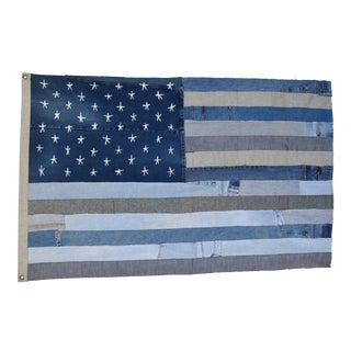 "Ralph Lauren Style Denim Patchwork American Flag Art Throw 58"" X 37"""