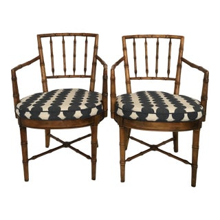Faux Bamboo Arm Chairs in Schumacher Fabric- A Pair For Sale