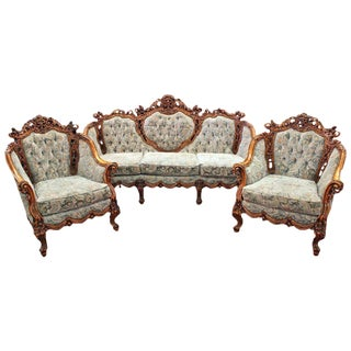 Antique Rococo Parlor Suite - Set of 3 For Sale